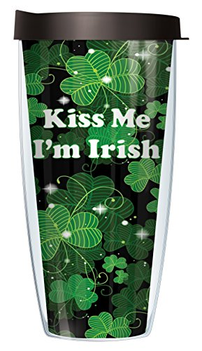 Kiss Me I'm Irish Green Shamrocks Super Traveler 22 Oz Tumbler Cup with Lid (Marry Me Review For Christmas)