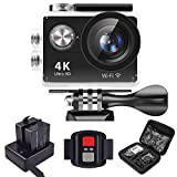 SRI Sports Action Camera 4K WiFi Waterproof Helmet Cams with Remote Charger Dock Accessories for Bike Bicycle Motorcycle (Black)