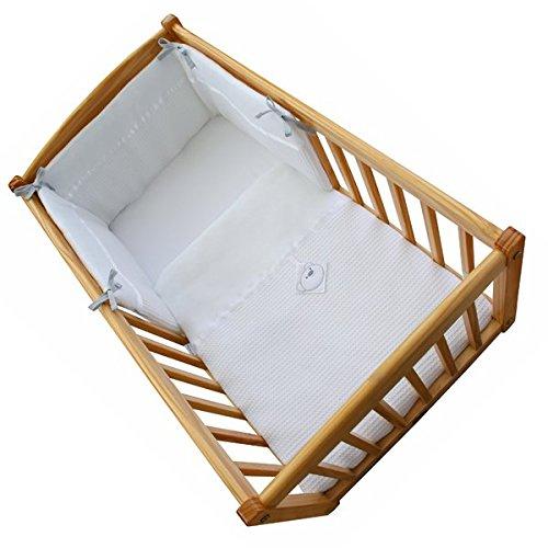 Clair de Lune Soft Waffle Bear 2 Piece Rocking Crib/Cradle Quilt & Bumper Bedding Set, White