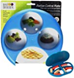 Meal Measure Portion Control - 4 Sections for easy food portioning (1, Blue w/Pill Case)