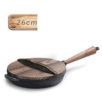 LLW-Frying Pans Sartenes para Sartenes para Uso Doméstico Sartén para Sartén con Mango De Madera Sin Recubrir Hierro Fundido Antiadherente Steak 26cm: ...