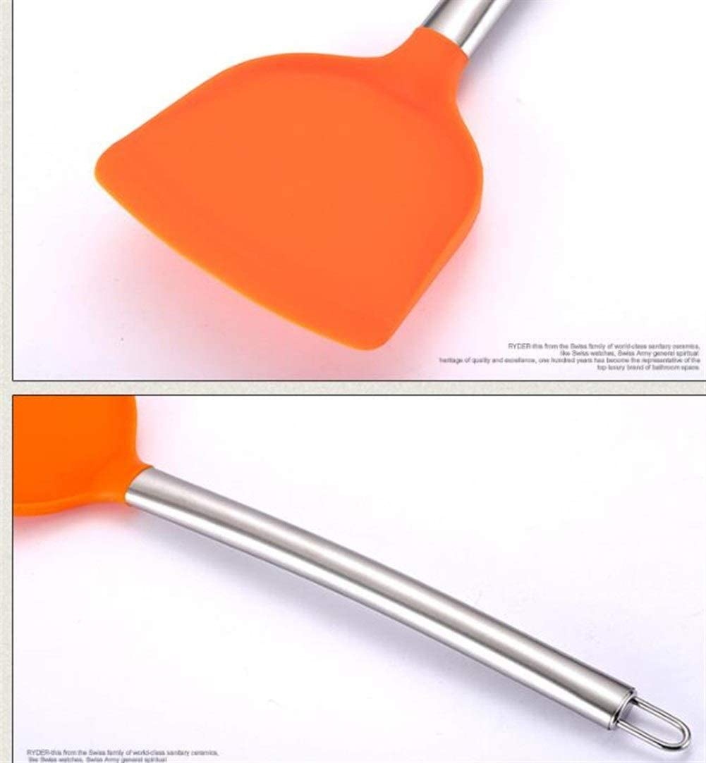 ZRDY Mehrfarbige Antihaft-Koch Turners Spatula Hitzebeständige Löffel Scoop Flexible Küche, Die Werkzeug (Color : Red) Orange