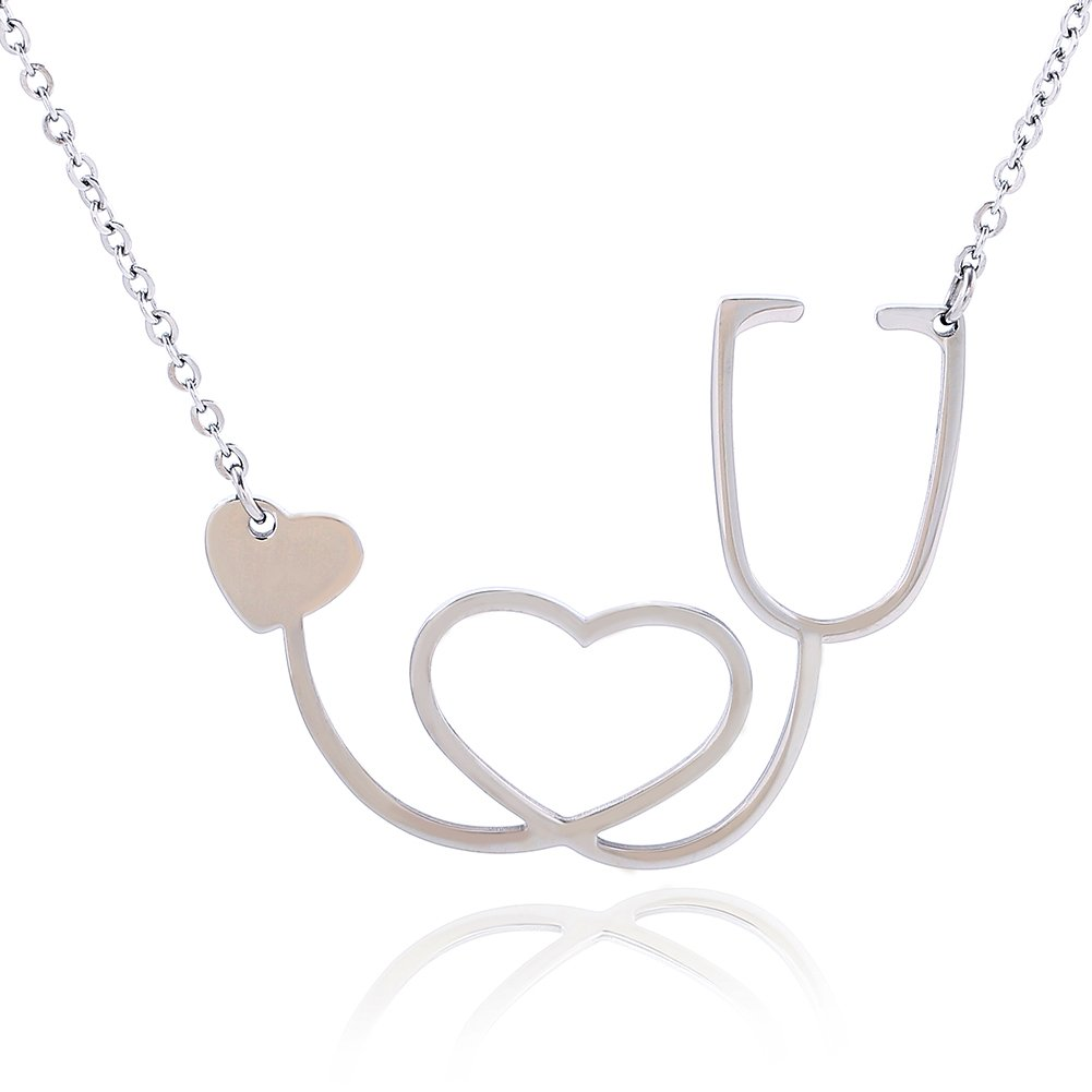 Doctor Nurse Stethoscope Necklace Stainless-steel Pendent for women 24\
