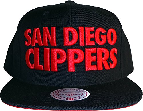 (San Diego Clippers Mitchell & Ness NBA HWC Title Pop Block Snapback Cap Hat (One Size, Black-Red))