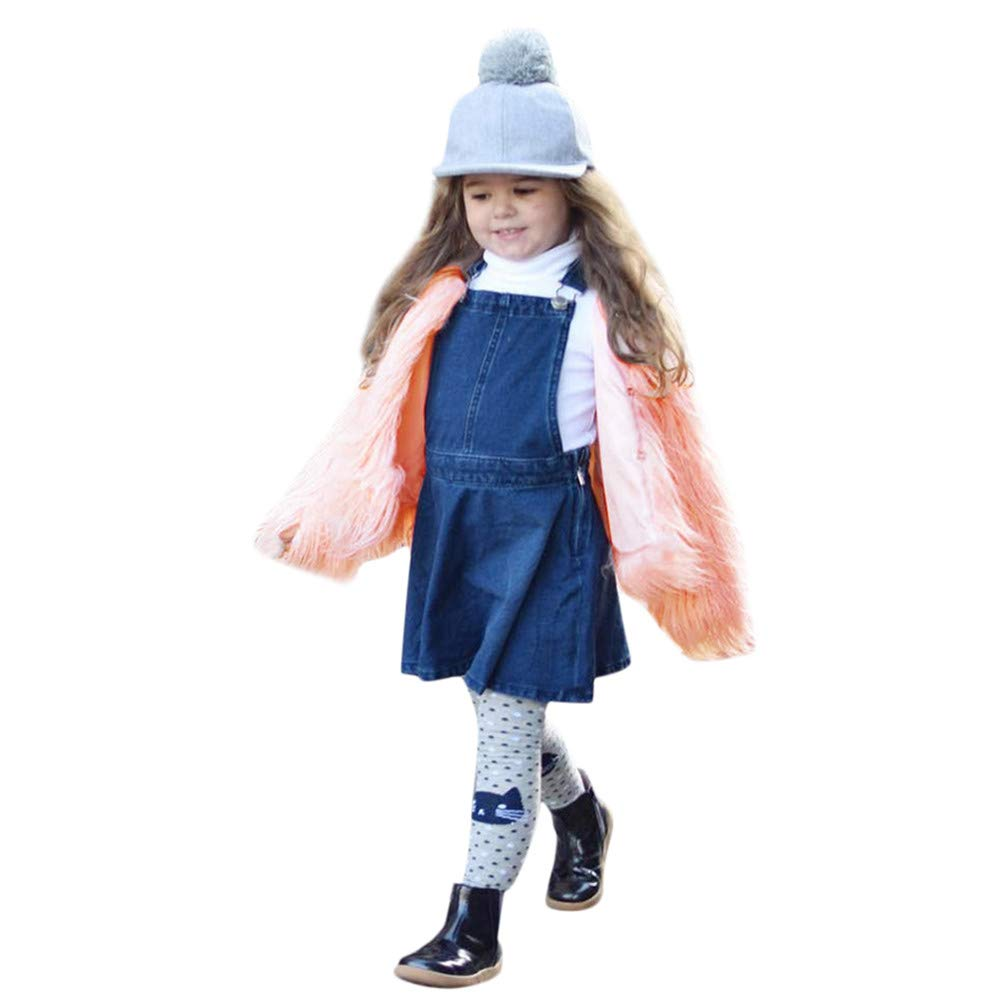 Kehen Kid Toddler Girl Faux Fur Jacket Thick Autumn Winter Warm Long Sleeve Coat Solid Outerwear Clothes