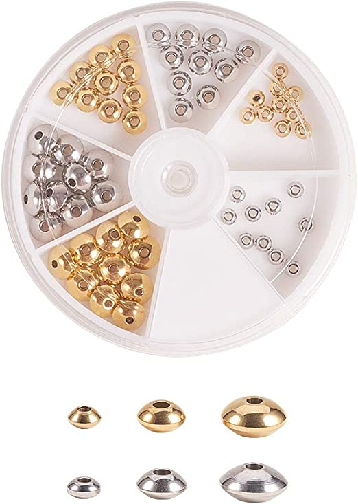 Mixed Gold Silver Bronze 6mm 50 x Flat  Round Spacer Beads
