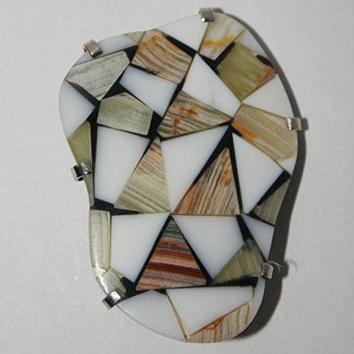 Onyx cacholong, mosaic pin, gemstone brooch -