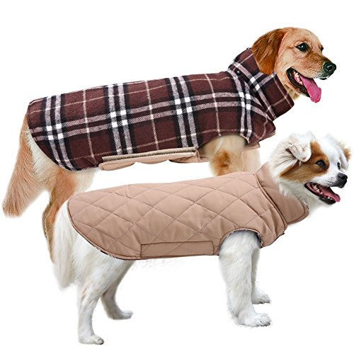 MIGOHI Dog Jackets for Winter Windproof Waterproof Reversible Dog Coat for Cold Weather British Style Plaid Warm Dog Vest for Small Medium Large Dogs Brown M