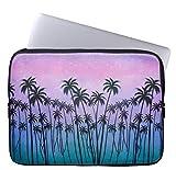 Eratio Purple Turquoise Palmtrees Neoprene Laptop Sleeve 13 Inch Macbook Air Case Macbook Pro Sleeve and 13 Inch Laptop Bag