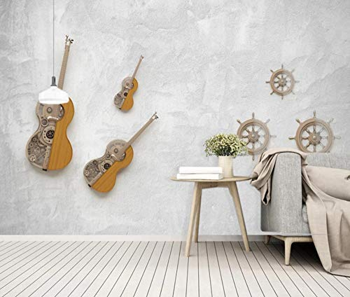 Wall Mural 3D Wallpaper Living Room Bedroom Tv Background -350cm×256cm(WxH) Guitar Music Modern Instrument Wall Decoration Art