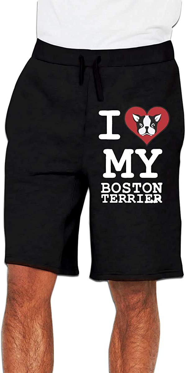 Nx55Ol@KU Mens Fashion Heart My Boston Terrier Jogger Sweatpant Athletic Gym Shorts Black