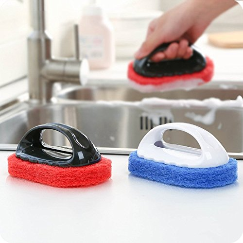 MMXXAIWWAA Ne pas blesser la main forte brosse éponge avec poignée brosse de nettoyage hotte de cuisine brosse de pot de cuisine outil de nettoyage 44g