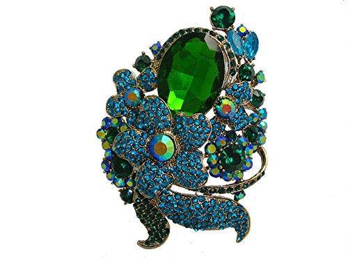 TTjewelry Unique Green Flower Futaba Art Nouveau Brooch Pin Pendant Austria Crystal Jewelry