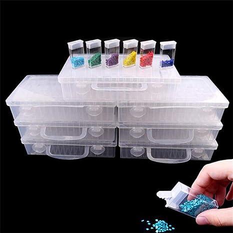 Caja de plástico transparente para organizar medicamentos, bricolaje, bordado de diamantes, mosaico, caja de almacenamiento para herramientas de pintura de diamantes, accesorios para uñas, organizador de puntas, joyas, taladros: Amazon.es: Juguetes y