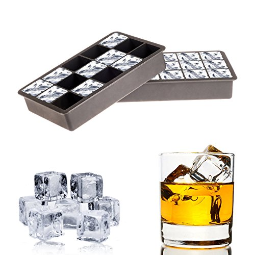 Ice Cube Tray Silicone Molds - Easy to Use Perfectly Square Cube for Whiskey, Scotch, Vodka or Refreshing other Cocktails. Set of Two (2) by Cozy Home Company
