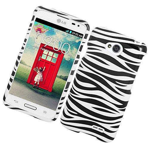 Zebra Rubberized Snap (LG Optimus Exceed 2 VS450PP Verizon/Optimus L70/Realm Case, Insten Zebra Rubberized Hard Snap-in Case Cover For LG Optimus Exceed 2 VS450PP Verizon/Optimus L70 MS323/Realm LS620, White/Black)