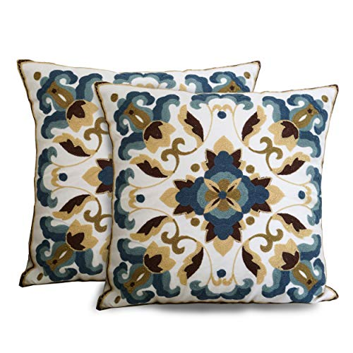 Purple Expressions Embroidered Throw Pillow Covers Decorative Cushion Cases 18 x 18 inch, Set of -