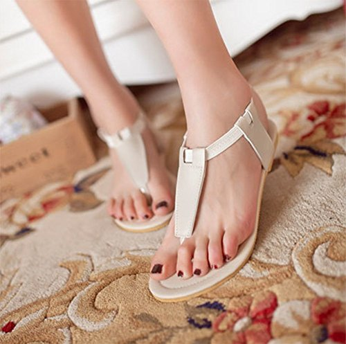 Chfso Femmes Grande Taille Cheville Sangle Tongs Ballerines Sandales Chaussures Beige