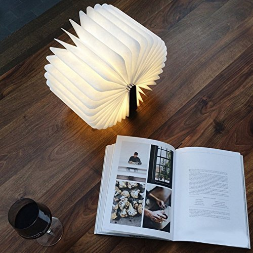 USB Rechargeable Wooden Folding LED Book Light for Decor/Desk/Table/Wall, Magnetic Lamp 2500mAh Lithium Batteries Desk Table Lamp, Warm White Light Best Gift For Father