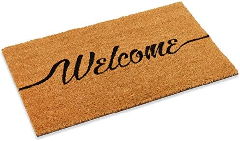 Welcome Outdoor Front Door mat with Vinyl Backing in Two Sizes 18 x 30 and 22 x 47 22 x 47