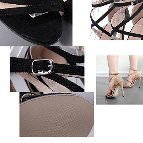 PBXP Cinghie trasversali 12 CM OL della festa di Roma di nozze popolari sandali della pelle scamosciata cavità superiore aperta punta delle donne del tacco alto degli alti talloni casuali dei sandali