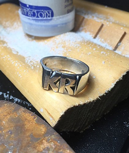 Large Sterling Silver 925 Hand Carved Initial Ring Made To Order