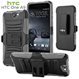 HTC One A9 Case, CellJoy [Ultra Rugged] {Gray}ShockProof Reinforced Impact Shield Bumper Protection Hybrid Case CoverKickstand [Locking Swivel Belt Clip Holster Combo]