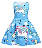 Cotrio Rainbow Unicorn Dress for Little Girls Birthday Party Dress Up Toddlers Casual Dresses Size 6 (5-6Years, Blue with Stars)