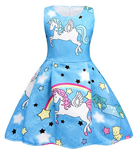 Cotrio Unicorn Outfits for Girls Theme Birthday Party Fancy Dress Toddler Rainbow Stars Pleated Skirt Children Kids Halloween Clothes Size 8 (7-8 Years, Blue, 130) -