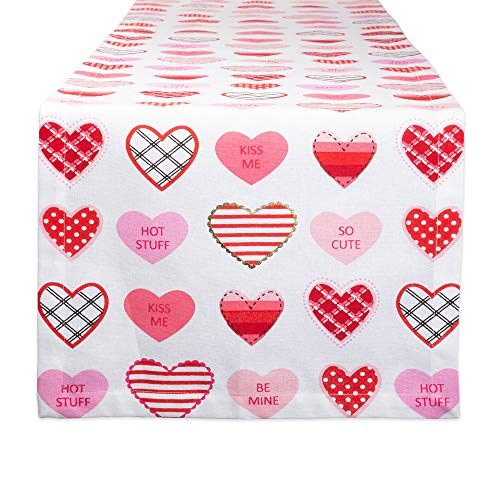 DII CAMZ11181 100% Cotton, Machine Washable, Printed Kitchen Table Runner for Mothers, Valentines Day and Everyday Use, 14x72 Sweet Hearts