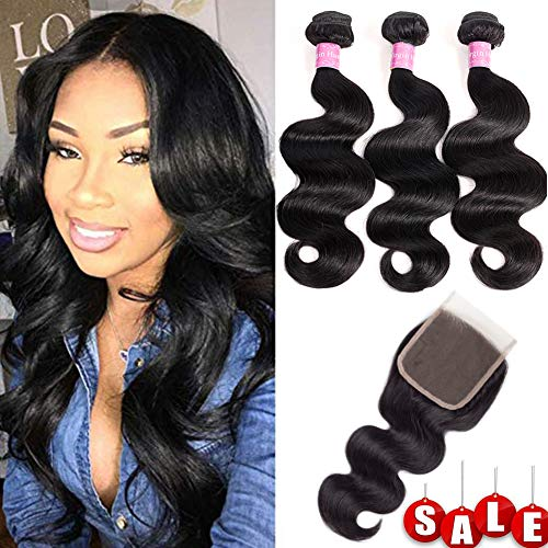 10A Brazilian Body Wave 100% Unprocessed Human Hair 3 Bundles With Closure(18 20 22+16Free part Natural Color) Body Wave Brazilian Human Hair Bundles With Closure