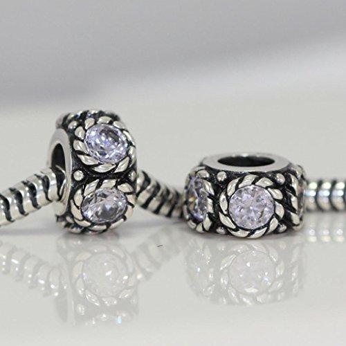 Flower Design Sterling Silver June Birthstone Charm Bead Swarovski Crystal Fit All Charm Bracelet Necklace Women Mom Christmas Gifts EC592