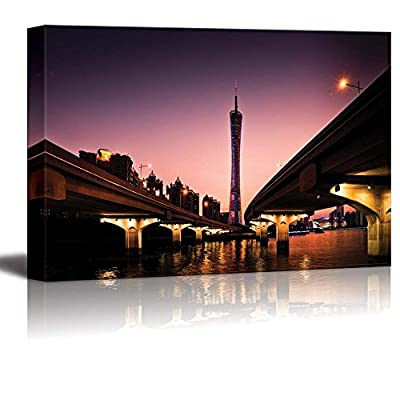 Guangzhou Canton Tower View Under Two Bridges at Nightfall Time for Home or Office Art - Canvas Art Wall Art - 12