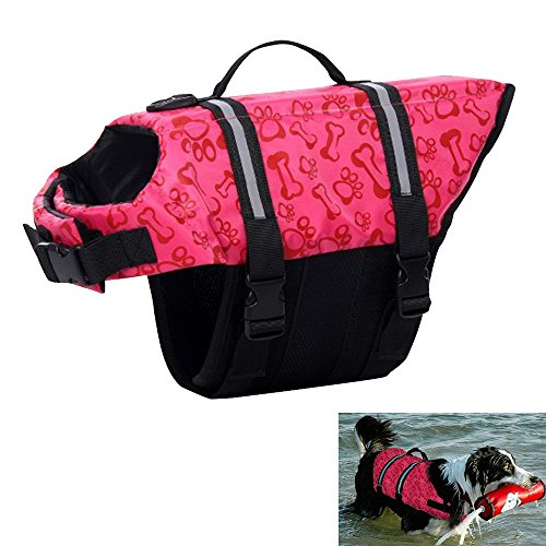 Baiyu Bone & Pawprint Pattern Dog Life Saver Jacket Pet Doggy Lifejackets Preserver Swimming Coat Vest Adjustable Quick Release Easy-Fit--Pink Size S
