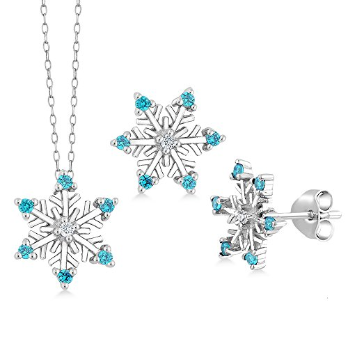 Diamond Set Snowflake - Gem Stone King Sterling Silver Diamond Accent Snowflake Pendant Earring Set On 18inches Chain