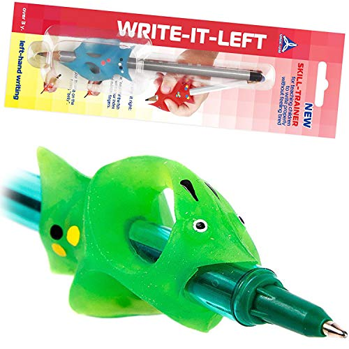 Left-Hand Pencil Grip for Kids Handwriting - Writing Claw with control Angle of fingers WRITE-IT-LEFT Green Fish (1728) ()