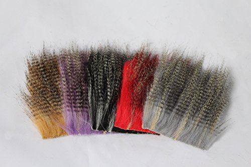 5 pcs 8X8cm Furabou Craft Fur 5 Barred Colors Fiber Streamer Tail Wing Fly Fishing Tying Materials (Fly Tying Wing)