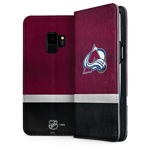 Skinit Colorado Avalanche Jersey Galaxy S9 Folio Case - Officially Licensed NHL Phone Case Folio - Faux-Leather Wallet Galaxy S9 Cover ()