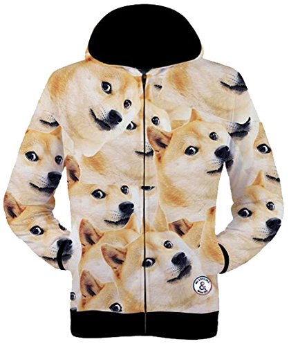 Oberora Mens Fashion Doge 3D Print Zip-Up Long - Doge Sweatshirt