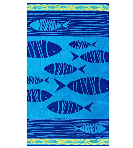 Espalma Over Sized Luxury Beach Towel, Large Size 70 Inch x 40 Inch Soft Velour and Reversible Absorbent Cotton Terry, Thick and Plush Jacquard Beach Towel, Fish School