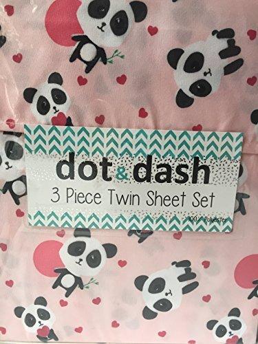 Dot and Dash Cute Hearts on Pink Baby Panda Sheet Set - 3 Piece Twin Sheet Set ()