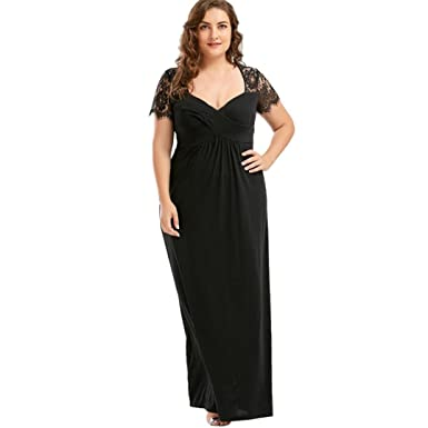 HOMEBABY Plus Size Women V-Neck Lace Maxi Vintage Dress, Girls Short Sleeve Formal