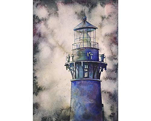 Watercolor painting of Currituck Lighthouse in the Outer Banks, NC, lighthouse painting wall art watercolor landscape (print)
