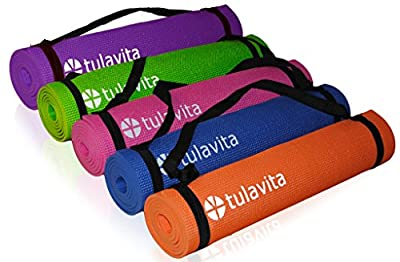 Premium Yoga Mats Tulavita All-Purpose Perfectly Thick High Density Non-Slip Includes Limited Edition Carry Strap