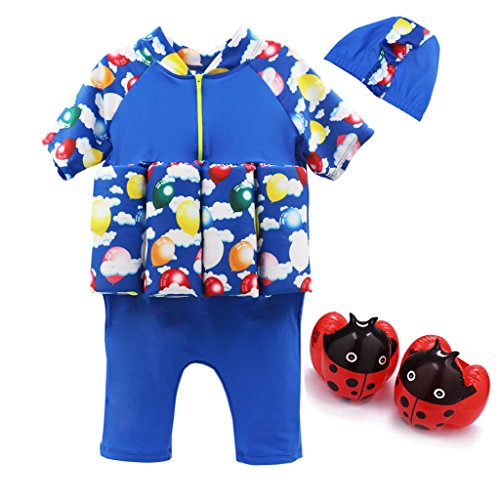 Kids Swim Suit Toddler Float Swimwear with Cap and Armband Sun Protection]()