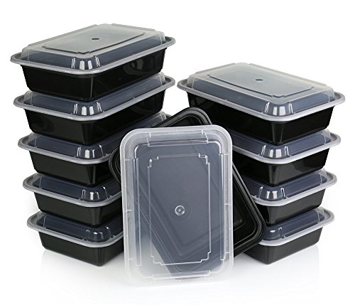 28oz Meal Prep Microwave And Dishwasher Safe Stackable Meal Prep Plastic Food Containers with Lids/Bento Box/Lunch Tray (1 Compartment Black 10 Pcs.) by Jenpak