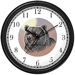 Grizzly Bear or Brown Bear No.2 Animal Wall Clock by WatchBuddy Timepieces (White Frame)