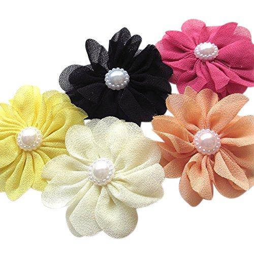 25pcs Fabric Ribbon Flowers Bows Rhinestone Appliques Craft Bulk A445 ()