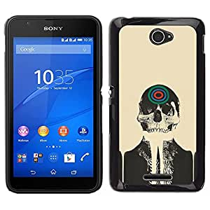 Impact Case Cover with Art Pattern Designs FOR Sony Xperia E4 Skull Skeleton Art Target Drawing Painting Head Betty shop