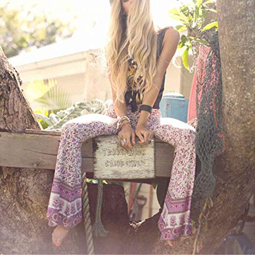 Pant For Women, Pervobs Womens Casual High-Waist Floral Print Sports Bell-bottoms Harem Yoga Wide Leg Pants(XL, Pink) by Pervobs Women Pants (Image #1)